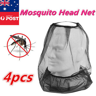 4x Army Issue Fly Mosquito Insect Bee Head Net for Camping Fishing Hiking
