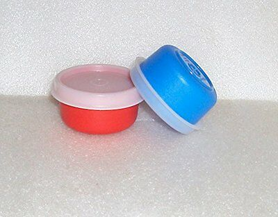 Tupperware Smidgets Set 2 Small Bowl Box Mini Containers Lot Red and Blue