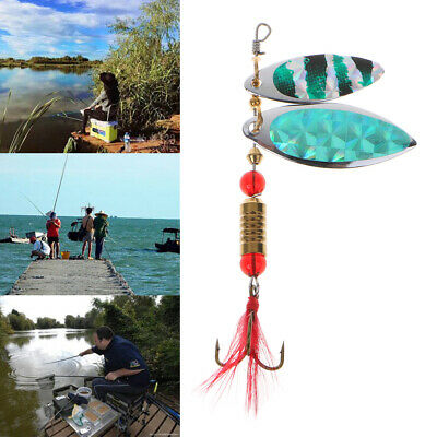 New Sinking Lifelike Fishing Lure Paillette Tackle Treble Hook Spinner Bait 1pc