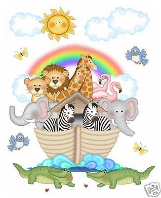 Noahs Ark Mural Wall Decal Baby Animal Nursery Kids Room Bedroom Stickers Decor