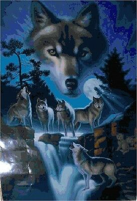 Cross Stitch Chart Pattern Spirit of Wolves Needlework Picture Design Craft