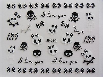 "Halloween 3D Nail Art Stickers Silver ""Skeleton Skull Crossbone Bows"" Decals 091"