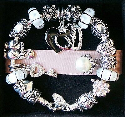 Authentic PANDORA Silver Bracelet with Charms Beads Family Love Heart