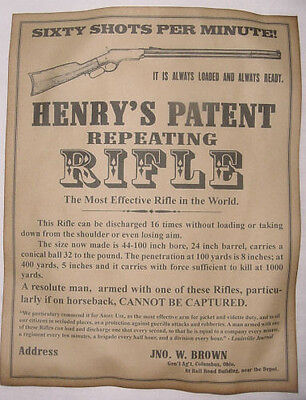 Henry Rifle Advertisement Poster, vintage, repro, old west, western, ad, wanted