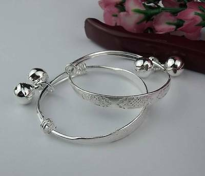 1 Pair  925 Sterling Silver Cute Lovely Baby Cuff Bracelet Bangle 2#