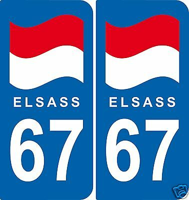 2 Stickers style immatriculation ELSASS 67 style plaque ex-région Alsace