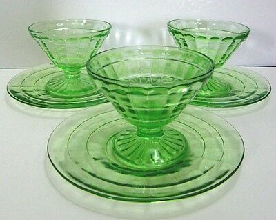Hocking Block Optic Cone Sherbet Sets (footed, non-stem)