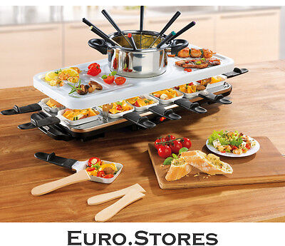 Gourmet Maxx Raclette Fondue Set With Ceramic Coating For 12 Persons Genuine New