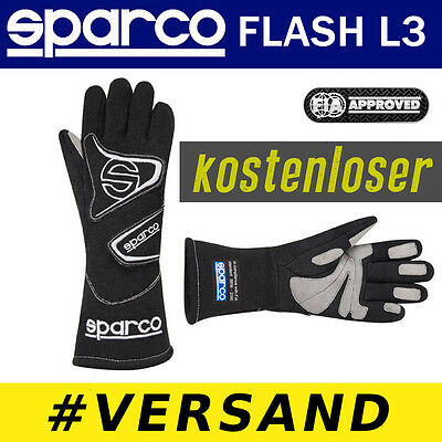 FIA SPARCO Handschuhe FLASH L3 SCHWARZ Professionelle Rally Racing Motor Sport