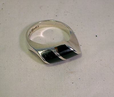 Lovely Taxco TS-11 Mexico Sterling Silver .925 Black Onyx Ring Not Scrap LOOK NR
