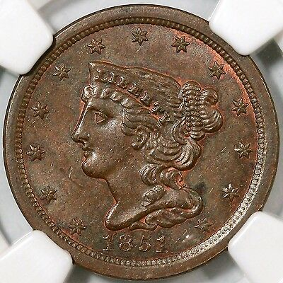 1851 C-1 NGC MS 62 BN EDS Braided Hair Half Cent Coin 1/2c