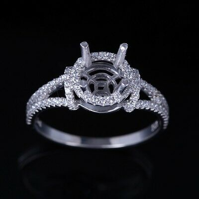 Solid 14k White Gold Semi Mount Natural Diamond Engagement Ring 7mm Round Cut
