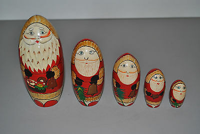 Russian Nesting Doll Santa Claus Christmas Set Of 5