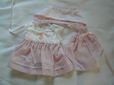 A Tiny Tears  Dress Set  for Medium Doll From 1950's  Pink Dotted Swiss