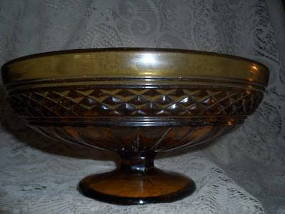 VTG LG.Amber Ribbed Diamond Point Banded Glass Pedestal Compote CenterPiece Bowl