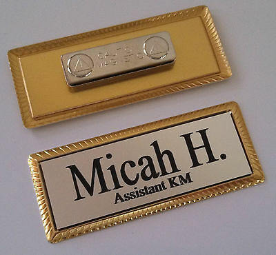 "SILVER Engraved Name Tag on GOLD metal frame 1""x3"" w/magnetic badge attachment"
