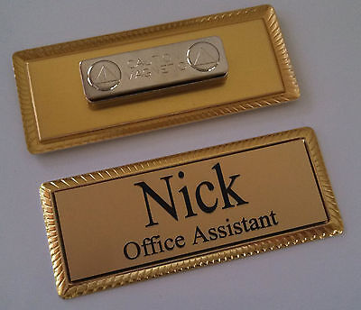 Employee Name Tags Silver On Gold Frame W Magnetic Magnet