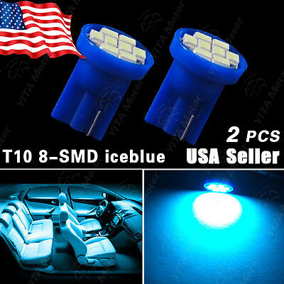 2x Aqua Ice Blue T10 Wedge 8 LED Bulbs For Car License Plate Lights 168 194 2825