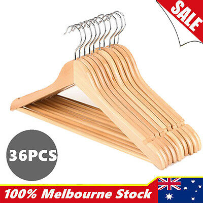 36pcs Wooden Clothes Cloth Hangers Coat Pant Suit Coathangers Rack Wardrobe Wood