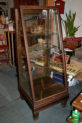 Antique wood Wavy Glass Lighted Display Show Case Columbus Showcase Co.