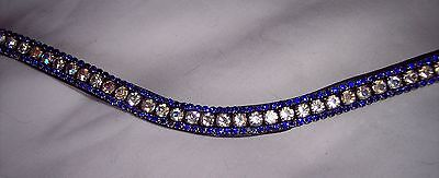 BLING!*Diamante*Leather Sparkly Browband*3-Row Crystals*AB / BLUE*Full/Cob/Pony