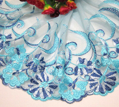 "8""*1yard Embroidered Tulle Lace Trim Sewing/Craft Sky BlueTulle"