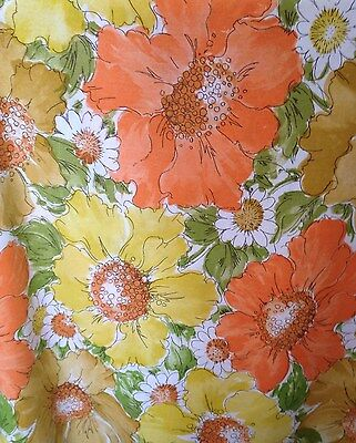 Vintage 60 70s Mod Floral Twin Flat Sheet Large Scale Gold Avocado Orange Fabric