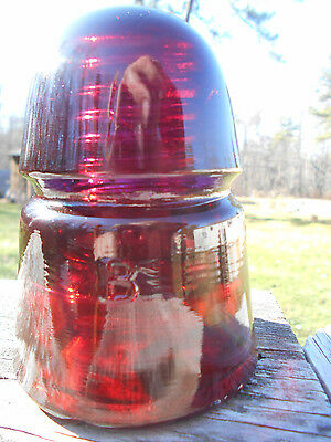 Antique Garnet Red Green Glass Insulator BROOKFIELD - BEEHIVE Colored/Stained