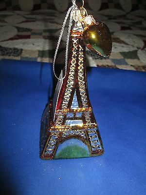 Eiffel Tower Paris France  Glass Christmas Tree Ornament