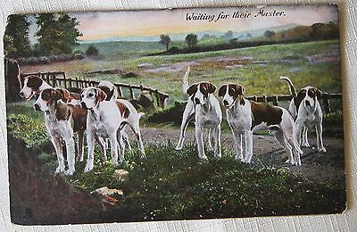 """DOGS GROUP OF Hunting Dog Hounds """"WAITING FOR THEIR MASTER POSTCARD-R.TUCK 1908"""
