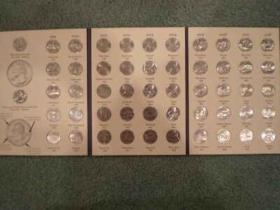 Three (3) Sets - Usa State Quarters - 56 Uncirculated Coins - Littleton Folder