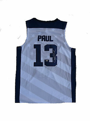 """Chris Paul Signed United States USA """" 2012 Olympics """"  WHITE Jersey STEINER"""