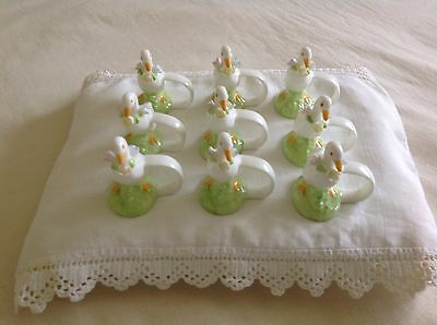 Antique English Fine bone china Duckling Napin Ring holders SET OF 9