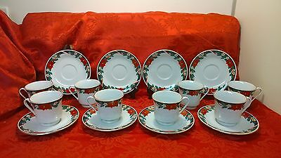 Tienshan ~ Deck The Halls ~ Poinsettia & Ribbons ~ 8 - Cups & Saucer Sets