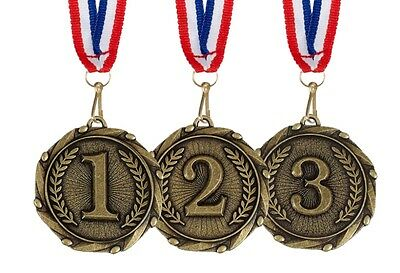 1st 2nd 3rd METAL COMBO MEDAL 45mm GOLD SILVER & BRONZE & FREE RIBBON AM901 2 3