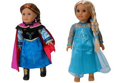 """Disney Frozen Elsa  Anna Outfits Doll Clothes Fits 18"""" American Girl"""