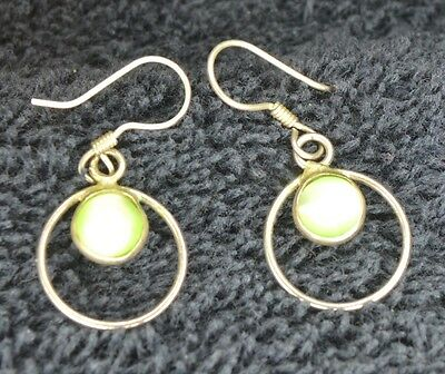 Sterling Silver Scrap/Not ~1 gr Matching Set Earrings Light Green Double Circle