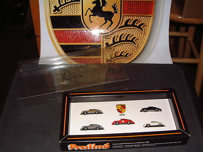 "PORSCHE ANTIQUE NOS PLASTIC 1:87 SCALE 356 SET W/ORIGINAL ""PRALINE"" DISPLAY BOX!"