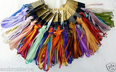 Colour Streams - 4mm Silk Ribbon - 3 metre hanks - Col. Nos. 31 to 52 inclusive