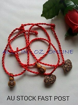 2 Pcs Chinese Wealth, Luck and Safety Feng Shui Calabash Red Bracelets MOTHERS