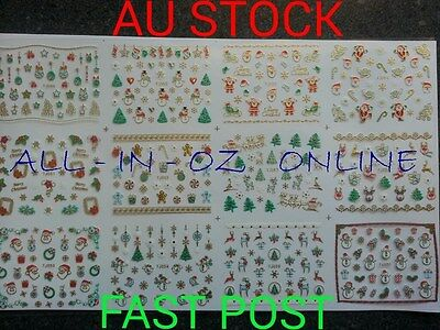 3D Gold CHRISTMAS Series Nail Art Stickers Acrylic UV Gel Manicure