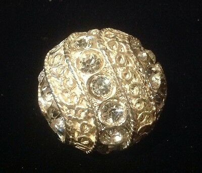 """TRUE VINTAGE 50's FANCY VHEAVY SILVER METAL LARGE RHINESTONE DOME BUTTONS 1"""""""