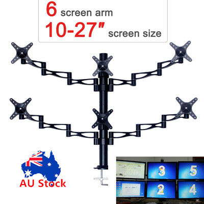 "10-27"" 6 Arm LED LCD Screen Monitor Stand Bracket Desk Mount Computer Display"