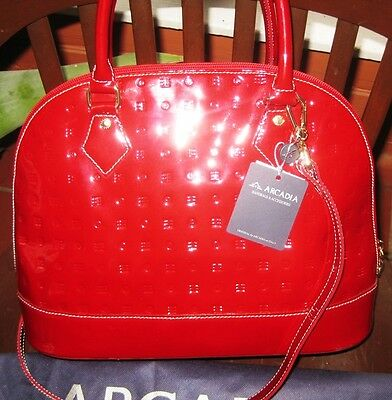 ARCADIA Red Patent Leather Vernis Crossbody Satchel Italy 3874 NWT w Dustbag
