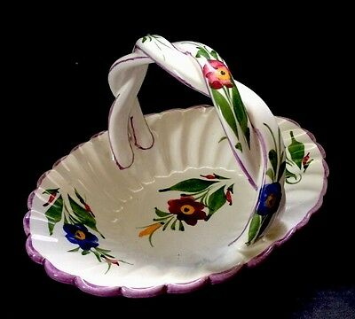Vtg Hand Painted Signed Floral Basket Portugal Pink Blue Flowers Braided Handle