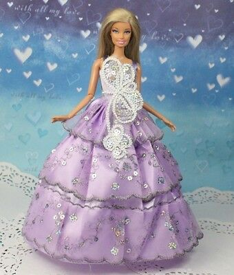 High quality Original purple gown wears clothes for barbie Doll Party c119