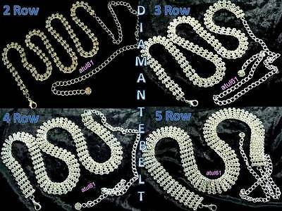 Diamante/Diamonte Ladies Girls Waist Chain/charm Belt-Silvertone Accessories NEW