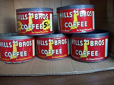 5 Hills Bros One Pound Tin Coffee Cans - No Lids