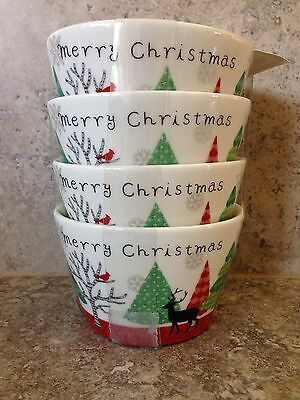 222 Fifth Merry Trees Round Dessert Appetizer Bowls Set Of 4 Christmas Reindeer