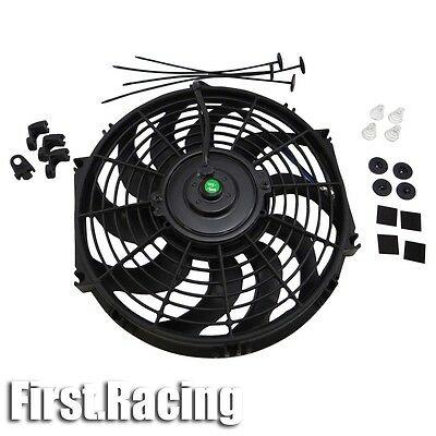 "12"" inch Universal Slim Fan Push Pull Electric Radiator Cooling 12V Mount Kit"